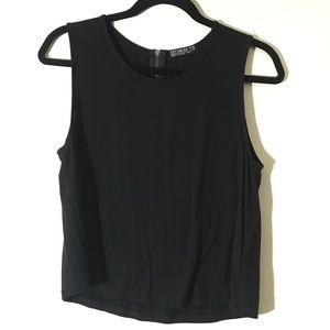 Cotton On Black Muscle Tee Tank w/ Zipper